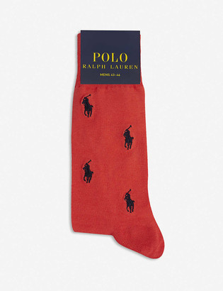 Polo Ralph Lauren Ribbed-cuff Pony-embroidered cotton-blend crew socks pack of two
