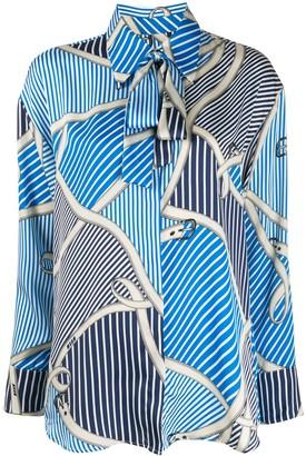 MSGM Stripe And Belt-Print Blouse