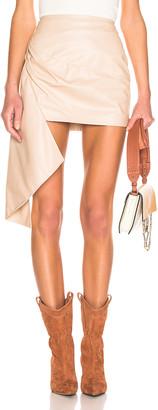 Zeynep Arcay Asymmetric Mini Leather Skirt in Nude   FWRD