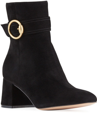 Gianvito Rossi 60mm Suede Booties with Buckle