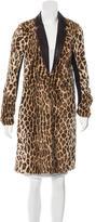 Elizabeth and James Leather-Trimmed Leopard Print Coat
