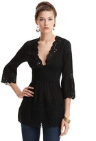 Catherine Malandrino Black Cotton Embroidered Tunic
