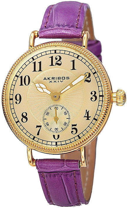 Akribos XXIV Velvet Womens Purple Leather Strap Watch