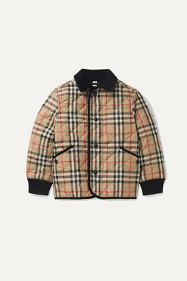 BURBERRY KIDS Ages 4-12 Corduroy-trimmed Checked Quilted Shell Jacket - Beige