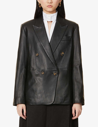 Vince Double-breasted leather blazer