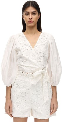 Azulu Movida Cotton Eyelet Lace Wrap Top