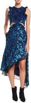 Self-Portrait Floral Devore Velvet Sleeveless Cutout Asymmetric Dress