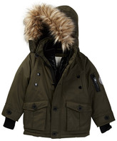 Diesel Parka with Quilted Vestee and Faux Fur Trimmed Hood (Little Boys)