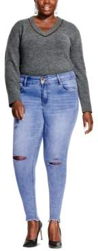 City Chic Plus Size Asha Ripped-Knee Jeans