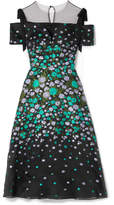 Lela Rose Tulle-trimmed Floral-jacquard Midi Dress - Black