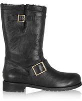 Jimmy Choo Rabbit-lined leather biker boots
