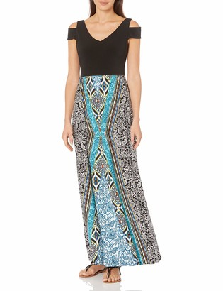 London Times Women's Petite Cold Shoulder Medley Printed Maxi with Black Top