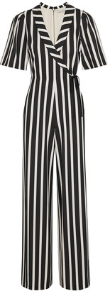 Alice + Olivia Luana monochrome striped jumpsuit