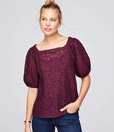 LOFT Lace Puff Sleeve Top