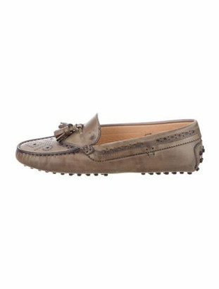 Tod's Leather Lasercut Accents Loafers