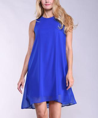 Lbisse Women's Casual Dresses Royal - Royal Blue Layered Chiffon Shift Dress - Women & Plus