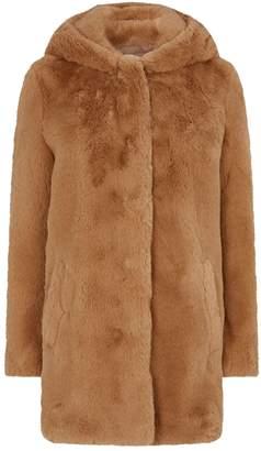 Sandro Faux Fur Hooded Coat
