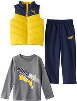 Puma Boys 4-7 Quilted Vest, Long Sleeve Tee & Pants Set