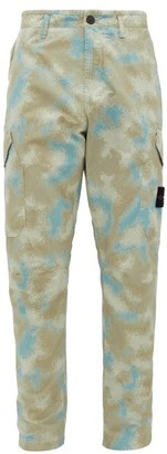 Stone Island Camouflage-print Tela Placcata Cotton Trousers - Mens - Grey