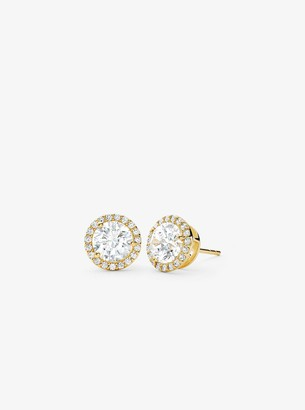 Michael Kors Precious Metal-Plated Sterling Silver Pave Large Studs