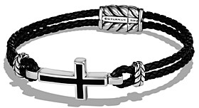 David Yurman Exotic Stone Cross Station Leather Bracelet with Black Onyx