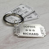 Nicola Crawford Personalised Sterling Silver Ticket Keyring