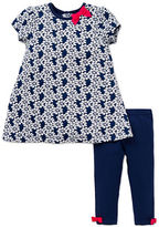 Little Me Baby Girls Two-Piece Flower Dress and Leggings Set
