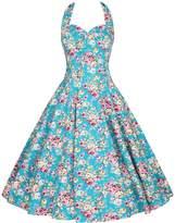 Sun Braces skirt vintage Floral Spring Garden Party Picnic Dress Party Cocktail Dress (L, )