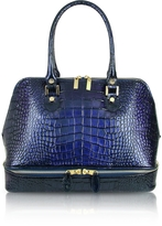 L.a.p.a. Blue Croco Patent Leather Bowler Bag