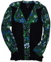 Anna Sui Black, Green & Blue Floral Sweater Blouse