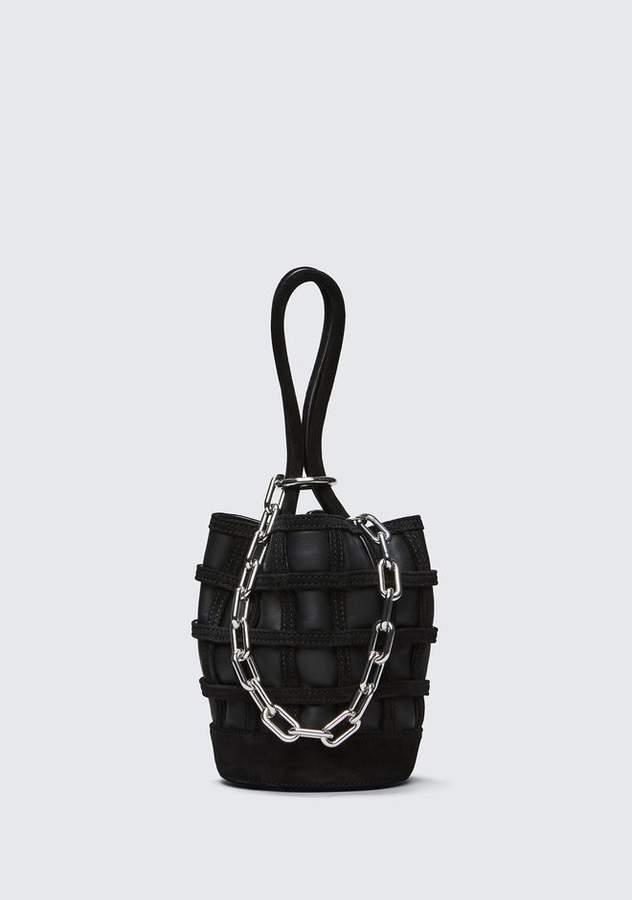Alexander Wang CAGED ROXY MINI BUCKET IN BLACK WITH RHODIUM Shoulder Bag