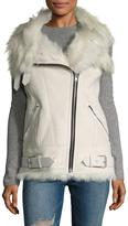 IRO Women's Lamb Shearling-Trimmed Asymmetrical Zip Vest
