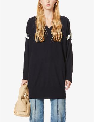 Stella McCartney V-neck contrast-panel wool jumper