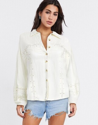 Free People Summer Stars lace insert shirt