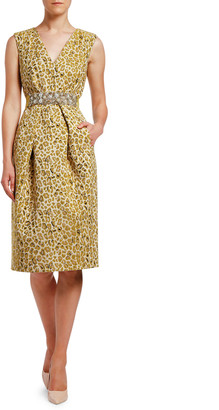 Antonio Marras Animal Damask Jewel-Waist Dress