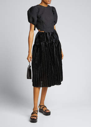 Cecilie Bahnsen High-Waist Textured Sateen Midi Skirt