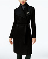 Ivanka Trump Asymmetrical Walker Coat with Brooch