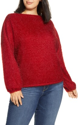 Gibson x Glam Blushing Rose Anna Off the Shoulder Soft Holiday Sweater