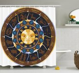 Astrology Shower Curtain by Ambesonne, Aries Taurus Gemini Cancer Leo Virgo Libra Scorpio Horoscope Signs, Fabric Bathroom Decor Set with Hooks, 75 Inches Long, Brown Yellow and Blue