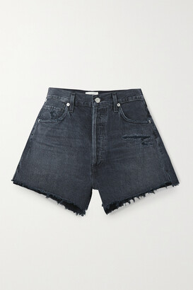 Citizens of Humanity - Marlow Distressed Organic Denim Shorts - Black