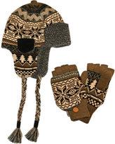 Muk Luks Men's Trapper Hat with Flip Mitten Set