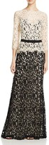 Tadashi Shoji Gown - Three Quarter Sleeve Lace Belted