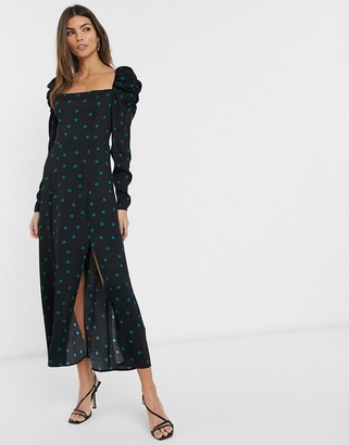 And other stories & polka dot puff sleeve midi dress in black