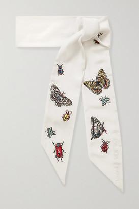 Alexander McQueen Embroidered Silk Scarf - Ivory