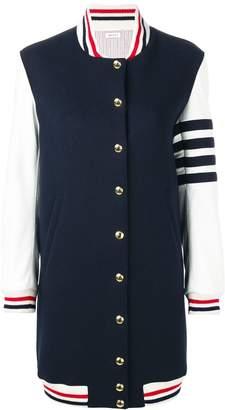 Thom Browne Navy Melton Varsity Jacket