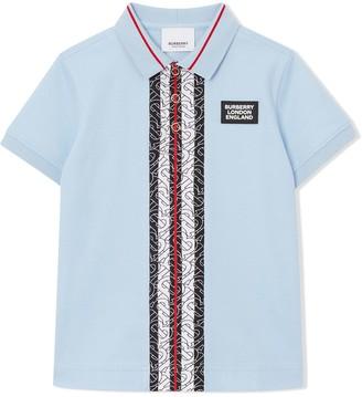 BURBERRY KIDS Monogram Stripe Polo Shirt