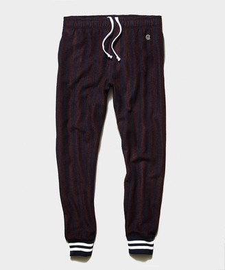 Todd Snyder + Champion Champion Wool Green Striped Jogger in Burgundy