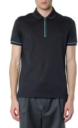 Salvatore Ferragamo Grey Cotton Contrasting Edges Polo Shirt