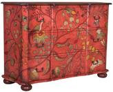 Duchess 46 in. x 66 in. 3-Drawer Red With Floral Pattern Chest