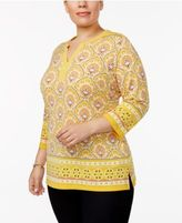 Charter Club Plus Size Split-Neck Tunic, Created for Macy's